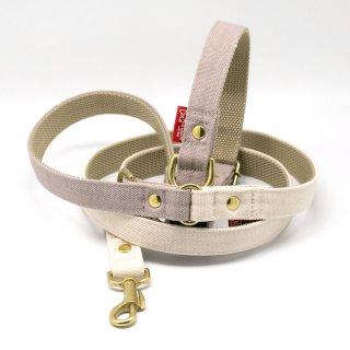 カラー&リードセット 20mm幅 バイカラー(グレー×オフホワイト)首輪(グレー)