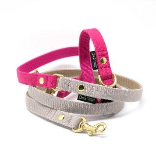 カラー&リードセット 15mm幅 バイカラー(ピンク×グレー)首輪(ピンク)
