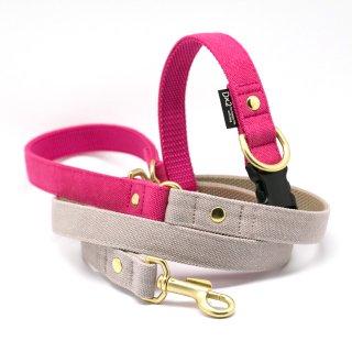 カラー&リードセット 20mm幅  バイカラー(ピンク×グレー)首輪(ピンク)