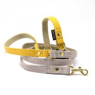 カラー&リードセット 15mm幅 バイカラー(イエロー×グレー)首輪(イエロー)