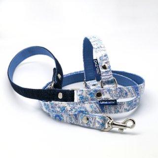 カラー&リードセット 15mm幅 ペイズリー(ブルー)