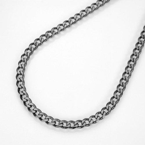 ブラック(燻し)6面カット喜平チェーンネックレスシルバー925幅2.9ミリ全長45cm