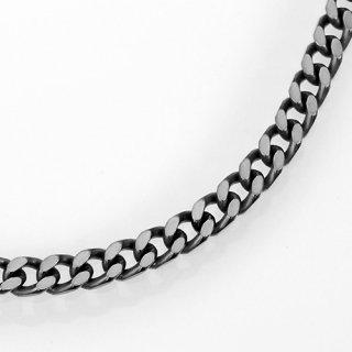 a1743-65-20 ブラック(燻し)喜平チェーンブレスレットシルバー925幅6.5ミリ全長20cm