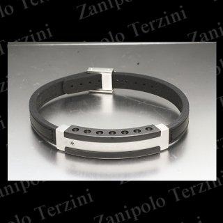 a1476-BK Zanipolo Terzini ザニポロ タルツィーニ ブレスレットブラックダイヤモンドIPブラックチタンコーティング(ブラックステッチ)