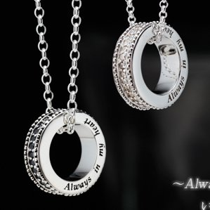 a1556 【75%OFF・ペア割73%OFF】キュービックジルコニアサークルメッセージネックレス Always in my Heart チェーン付き