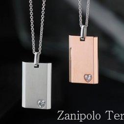 a1562 Zanipolo Terzini ザニポロ タルツィーニ ハートシェイプキュービックジルコニアプレートネックレスチェーン付