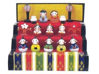 ガラスのお雛様 春の豆雛三段飾り(屏風デザイン変わりました)