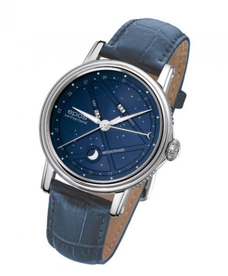 予約受付中(納期約2~3ヶ月後)  エポス ナイトスカイ 3391BL (ネイビーベルト) 紺 青 ブルー 革ベルト 腕時計 メンズ 自動巻 epos EMOTI…
