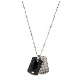 エンポリオアルマーニ necklace EGS1542040 シルバー×ブラック ジュエリー EMPORIO ARMANI ネックレス メンズ