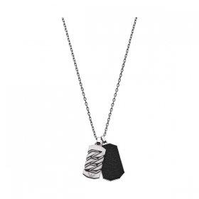 エンポリオアルマーニ necklace EGS2437040 シルバー×ブラック ジュエリー EMPORIO ARMANI ネックレス メンズ