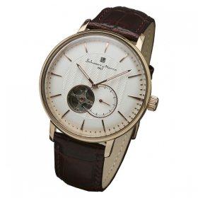 サルバトーレマーラ SM17114-PGWH 腕時計 メンズ  Salvatore Marra 自動巻き レザーストラップ