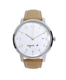 アニエスベー  BG8007X1 腕時計 ユニセックス agnes b.  レザーベルト ホワイト かわいい プレゼント クオーツ