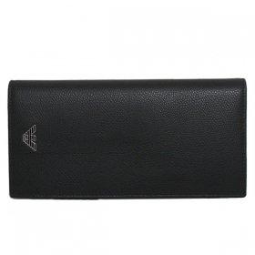 エンポリオアルマーニ 二つ折り財布(小銭付) YEM122 YAQ2E 81072 メンズ ブラック 黒 EMPORIO ARMANI イーグルマーク 革 レザー 本革 二折 さいふ ウォレット