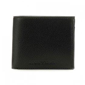 エンポリオアルマーニ 二つ折り財布 Y4R167 YEW1E 81072 メンズ ブラック 黒 EMPORIO ARMANI 無地 革 レザー 本革 さいふ ウォレット 二折小銭付