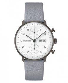 ユンハンス マックスビル クロノスコープ ブラック&ホワイト 027 4008 05 腕時計 メンズ 自動巻 JUNGHANS Max Bill 027/4008.05 レザーベルト グレー