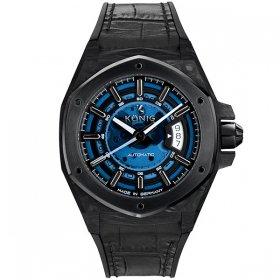 ケーニグ カーボン K74CB001 腕時計 メンズ KONIG K74 CARBON 自動巻 ケーニッヒ スケルトン レザーストラップ ブラック系