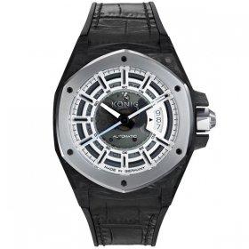 ケーニグ カーボン K74CB002 腕時計 メンズ KONIG K74 CARBON 自動巻 ケーニッヒ スケルトン レザーストラップ ブラック系