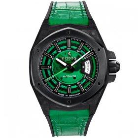 ケーニグ カーボン K74CB003 腕時計 メンズ KONIG K74 CARBON 自動巻 ケーニッヒ スケルトン レザーストラップ グリーン系