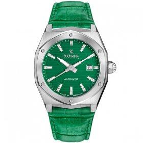 ケーニグ キャリバー K74C002 腕時計 メンズ KONIG K74 CALIBRE 自動巻 ケーニッヒ レザーストラップ グリーン系