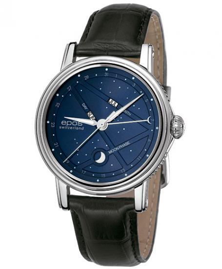 予約受付中(納期約2~3ヶ月後)  エポス ナイトスカイ 3391BL (黒ベルト) ブラック 革ベルト 腕時計 メンズ 自動巻 epos EMOTI…