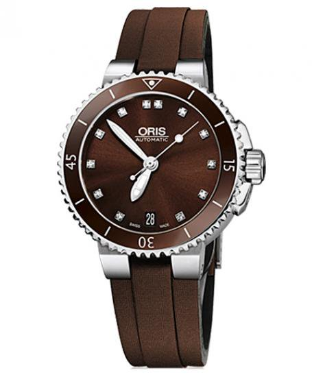オリス アクイス デイト ダイヤモンド 73376524192D (サテンベルト) ダイバーズ レディース 腕時計 ORIS