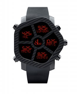 ジェイコブ ゴースト JC-GST-CBN カーボンカラー ブラック デジタル 5time zone 腕時計 JACOB&CO
