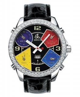 ジェイコブ ファイブタイムゾーン JC-11D ダイヤモンドベゼル 腕時計 JACOB&CO