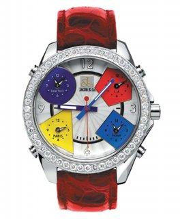 ジェイコブ ファイブタイムゾーン JC-M1D ダイヤモンドベゼル 腕時計 JACOB&CO