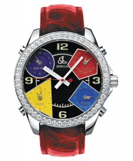 ジェイコブ ファイブタイムゾーン JC-M11D ダイヤモンドベゼル 腕時計 JACOB&CO