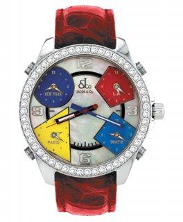 ジェイコブ ファイブタイムゾーン JC-M13D ダイヤモンドベゼル 腕時計 JACOB&CO