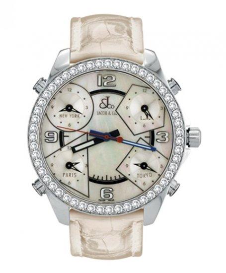 ジェイコブ ファイブタイムゾーン JC-M14D ダイヤモンドベゼル 腕時計 JACOB&CO