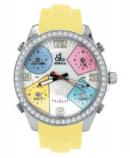 ジェイコブ ファイブタイムゾーン JC-M24D ダイヤモンドベゼル 腕時計 JACOB&CO