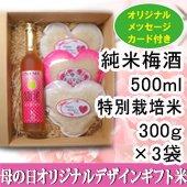 【母の日】梅酒500ml・人気米300g<白米>×3つ[送料別]