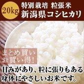 【令和2年度】EM農法 粒張米 新潟県コシヒカリ 20kg玄米 <減農薬、減化学肥料>[送料別]