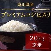 【令和2年産】富山県プレミアムコシヒカリ<20kg玄米まとめ売り> [送料別]
