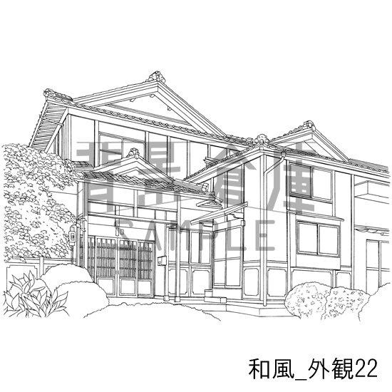 和風の建物の作画見本