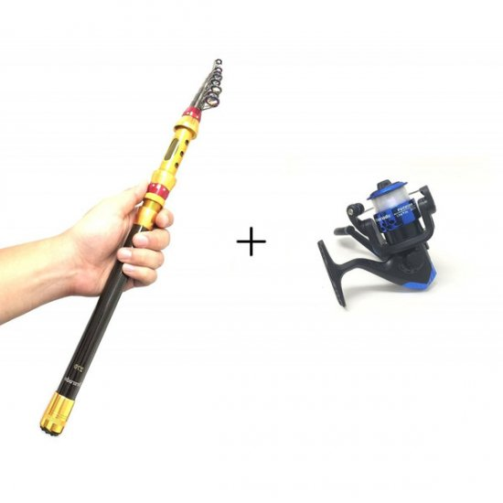釣り竿 スピニングリールセット(3号糸付)軽量伸縮振出しタイプのコンパクトロッド カーボン製 / 釣竿寸法7サイズ・リールカラー5カ…