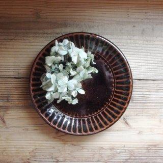 俊彦窯 清水 俊彦-黒釉 しのぎ 7寸皿
