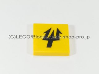 #3068 タイル 2x2 フラット 三叉【黄色】 /Tile 2x2 with Decoration :[Yellow]