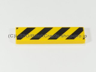 #2431 タイル 1x4 フラット 斜線【黄色】 /Tile 1x4 with Danger Stripes Black :[Yellow]