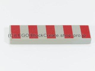 #2431 タイル 1x4 フラット ストライプ  【旧灰】 /Tile 1x4  with 5 Red Stripes:[Gray]
