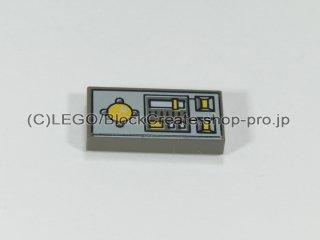 #3069 タイル 1x2 フラット ノブコントロール【旧濃灰】 /Tile 1x2 with Yellow Buttons and Knob Controls:[Dark Gray]