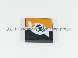 #3068 タイル 2x2 フラット プリント【黒】 /Tile 2x2 with Decoration :[Black]