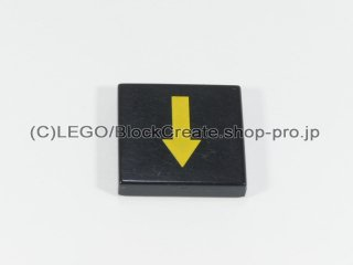 #3068 タイル 2x2 フラット 黄色矢印【黒】 /Tile 2x2 with Yellow Arrow :[Black]