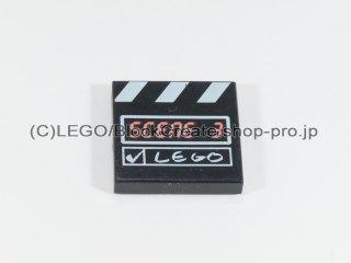 #3068 タイル 2x2 フラット カチンコ【黒】 /Tile 2x2 with clapperboard :[Black]