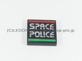 #3068 タイル 2x2 フラット スペースポリス【黒】 /Tile 2x2 with Decoration :[Black]