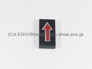 #3069 タイル 1x2 フラット 矢印【黒】 /Tile 1x2 with Arrow Long DkRed with Silver Border :[Black]