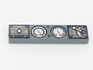 #2431 タイル 1x4 フラット 計器スイッチ【新濃灰】 /Tile 1x4 with Gauges and Switches Design:[Dark Bluish Gray]