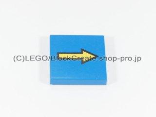 #3068 タイル 2x2 フラット 黄色矢印  【青】 /Tile 2x2 with Yellow Arrow with Black Border :[Blue]