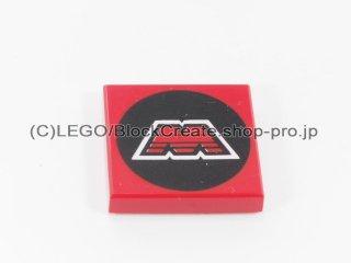 #3068 タイル 2x2 フラット プリント 【赤】 /Tile 2x2 with Decoration :[Red]